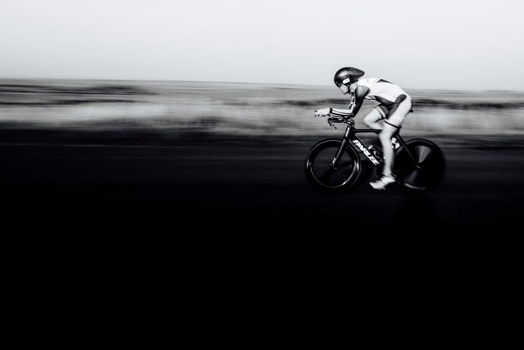 cyclist on triathlon bike