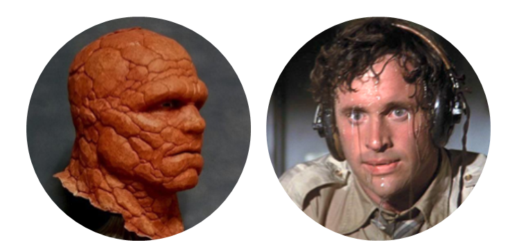 Image using popular movie references to illustrate a person who sweats very little and one who sweats a lot